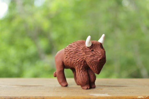 Bison American Buffalo Figurine Polymer Clay Animal Etsy