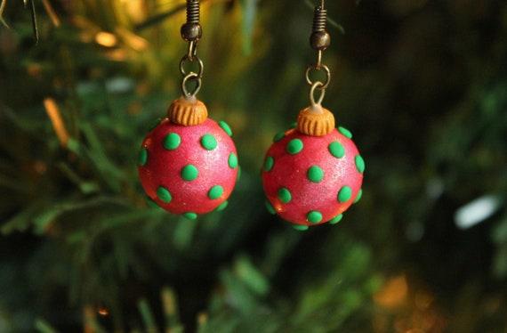 Polymer Clay Christmas Earrings.Christmas Ornament Earrings Polymer Clay Christmas Earrings Polka Dot Christmas Ornament Earrings Handmade Christmas Ornament Earrings