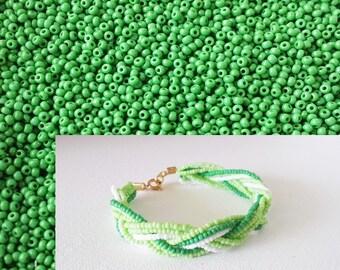 Kelly green seed beads 11/0,Preciosa Ornela,Czech beads,green seed beads,tiny beads,small beads,jewelry supplies,2mm beads,glass,BS6286