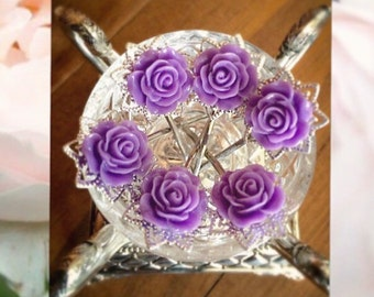 Purple Rose Hairpins, Vintage Flower Hairpins, Cottage Chic Hair Accessories, Handmade Gift, For Her, Teen Gift, Girls' Gift