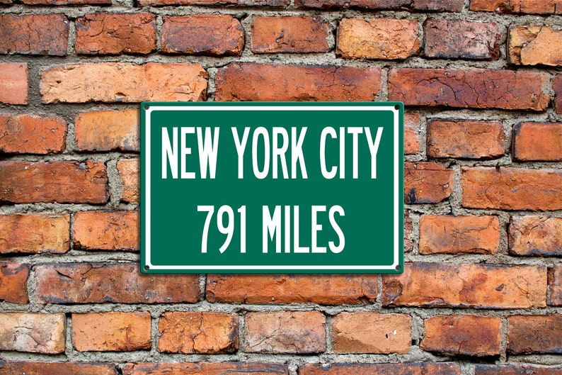 Personalized Steel Highway Distance Sign To: New York City NYC USA United  States Traveler Abroad Unique Gift Souvenir Metal Steel Sign Gift