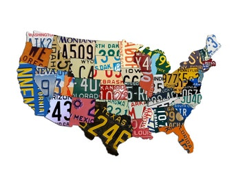 Plasma Cut Steel USA 14 x 8 License Plate Map Sign Vintage Decor Garage Auto Car Plates Wall Art Custom Metal Sign Business Art (PSS00009)