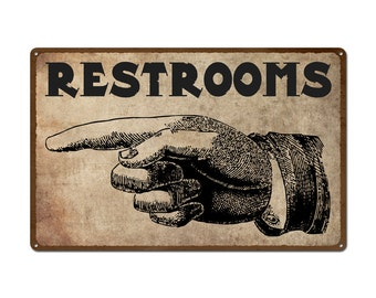 Vintage Pointing Hand Restroom Sign Rustic Metal Sign Restaurant Home Shop Business Wall Art Bathroom Sign Surf To Summit 2016 (999-00055)