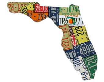 Plasma Cut Steel Florida License Plate Map Sign Metal Sign Home Decor Wall Art Garage Art Great Gift Man Cave Plasma Cut Rustic Sign