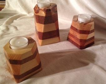 Set of 3 - Cherry and Pine Tea Light Tower
