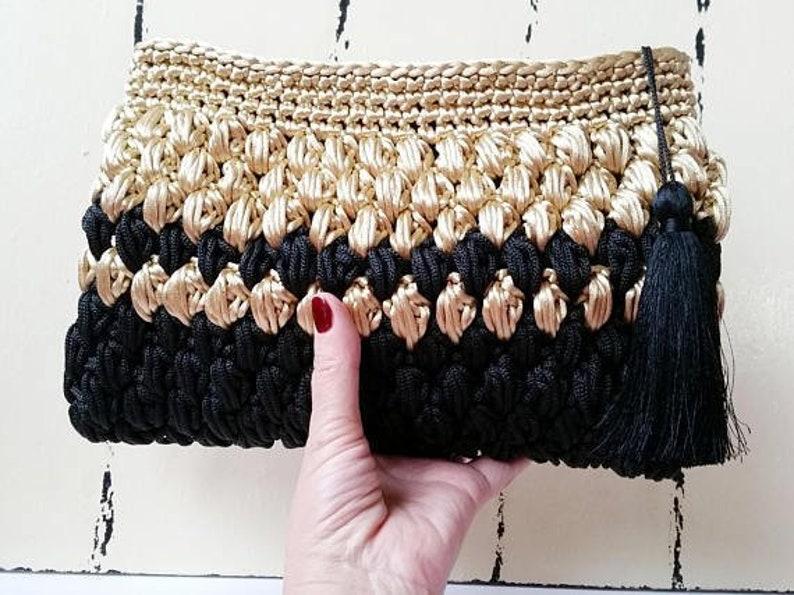 985443af6d Black and Gold Crochet Clutch Bag Party Bag Metallic Clutch