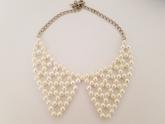 Bead Woven Romantic Wedding Pearl Necklace Statement Necklace Bridesmaid Necklace Gift for the Bride Pearl Peter Pan Collar