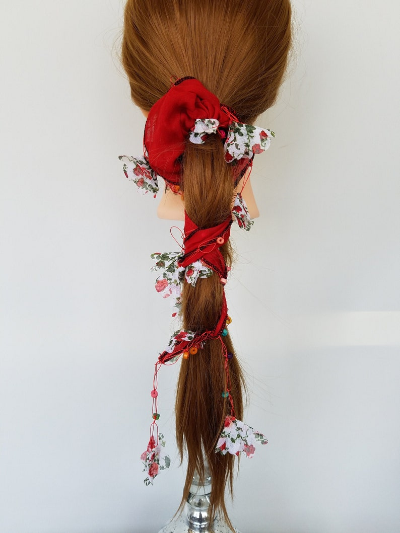 Boho Hairstyle Beaded Long Tail Chiffon Scarf Scrunchie Hair Tie Ponytail Holder Braided Hair Ties Colorful Wood Beads /& Fabric Flowers