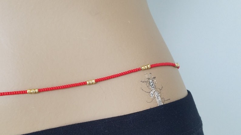 Body Jewelry Gift African Waist Beads Red /& Gold Belly Chain Handmade to Order with Clasp Beaded Waist Chain Belly Beads Adjustable