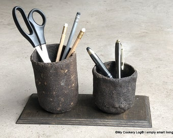 Desk Organizer I Pen Holder with 2 Quivers I Upcycling of coffee dregs I Gift Idea
