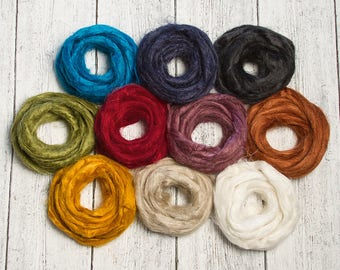 Flax Fiber Roving Top Effect Embellishment for Felting and Spinning, Blue, Black Green, Red, Yellow, Orange, Pink, Tan, White, Gold, Copper