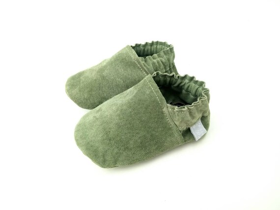 c7fdc9c5ab6 Green Suede Baby Shoes Soft Sole Baby Shoes genuine suede