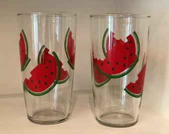 Vintage Set of Watermelon Drinking Glasses