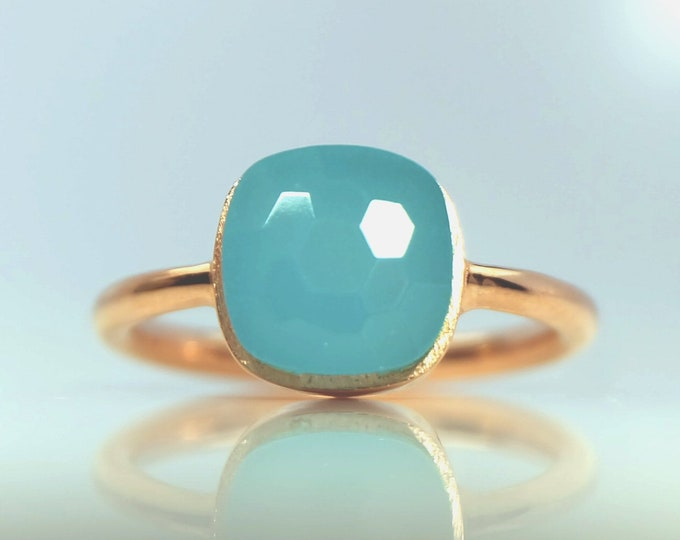 Sucrée Collection | Ring | Aqua Chalcedony | Small Model