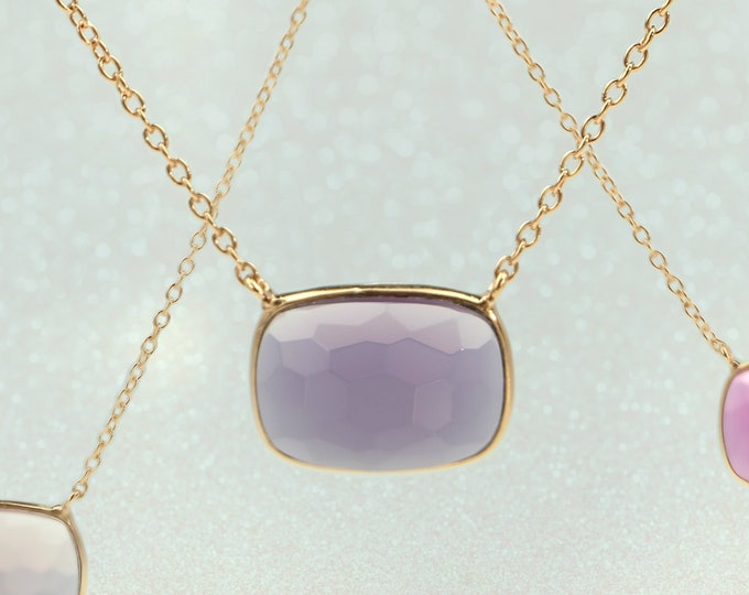 Sucrée Collection | Necklace | Purple Amethyst | Rectangle Model