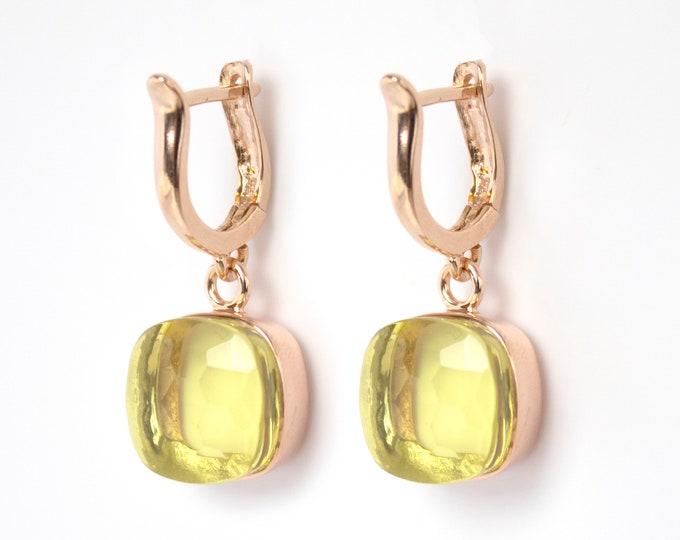 Sucrée Collection   Earrings   Lemon Quartz   Large Model