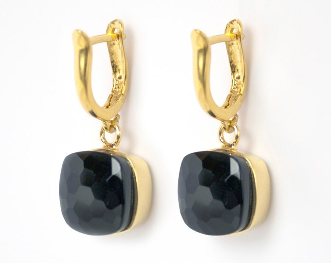 Sucrée Collection | Earrings | Natural Black Onyx | Large Model