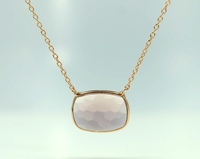 Sucrée Collection | Necklace | Lavender Amethyst | Rectangle Model