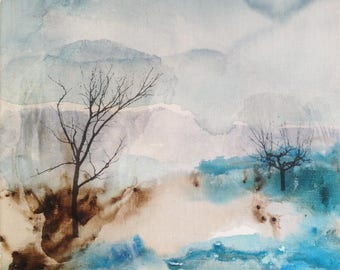 Original painting, landscape with trees in winter, Ink and collage on linen canvas. Abstract landscape in blue.