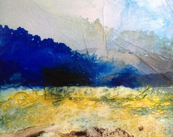 Original painting abstract landscape - Fields - ink and collage on canvas. Contemporary art, abstract art.