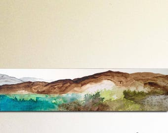 Original painting, mountainscape with lake, ink acrylic and collage on canvas. Abstract landscape, contemporary art.