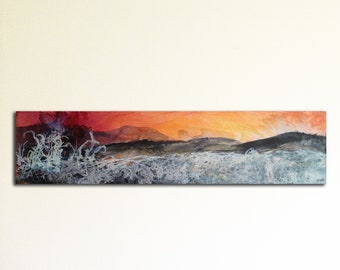 Winter landscape original painting on canvas, ink and collage. Abstract landscape, abstract art. Contemporary art.