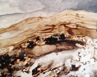 landscape painting, mountainscape in grey and brown, original painting ink and pigments on canvas, abstract landscape, abstract art.