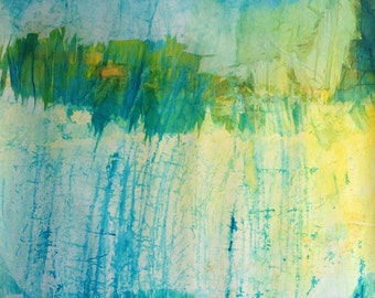 Original waterscape - The shore - abstract landscape, original painting on canvas.