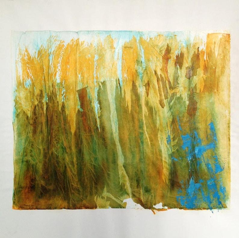 Dans Les Hautes Herbes Peinture Originale Encres Et Collage Etsy