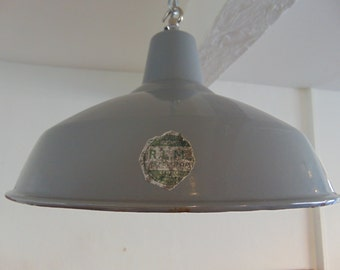 Vintage 1930's Industrial Factory Benjamin Pendant Lightshade in grey with new fittings.