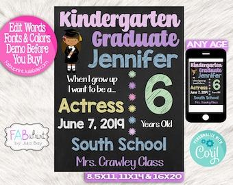 Boy Brown Hair Graduation Milestone Chalkboards Editable Kindergarten Graduate Chalkboard Signs Milestone Chalkboard Sign