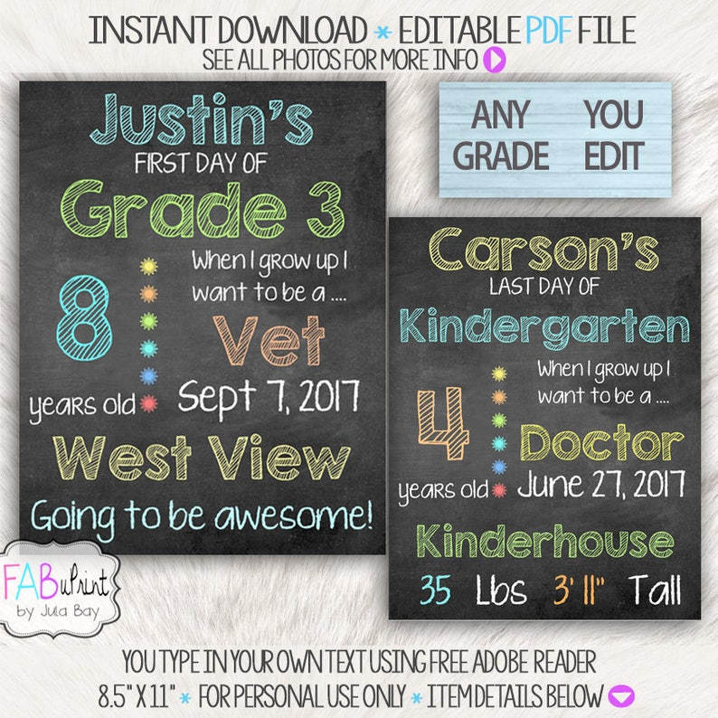 photo about Free Printable Templates for 1st Day of School Signs for Boys identified as Editable 1st Working day of University Chalkboard, Reusable 1st Working day of University Symptoms, Back again in direction of University Signal, Do it yourself Printable Past Working day of Faculty