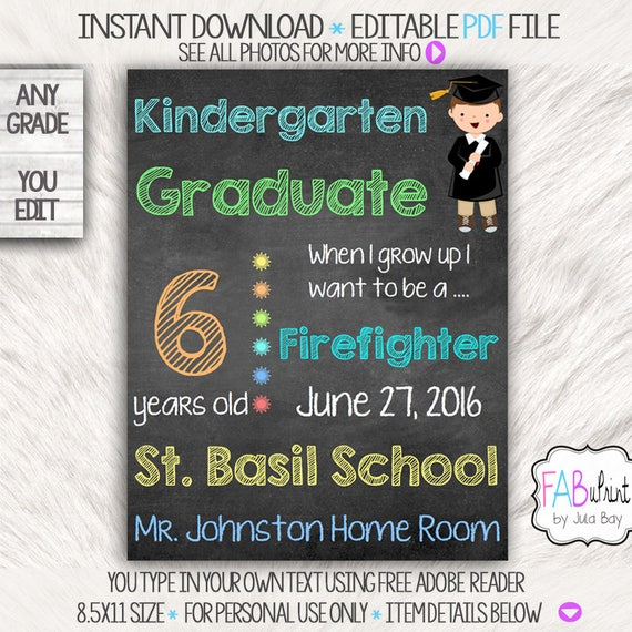 kindergarten graduation chalkboard signs editable etsy