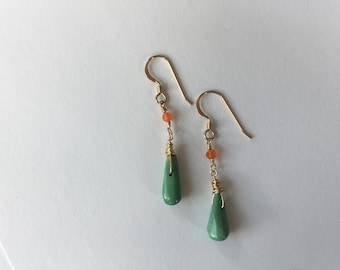 gold earrings with turquoise drops and carnelian accents on gold-filled ear wires