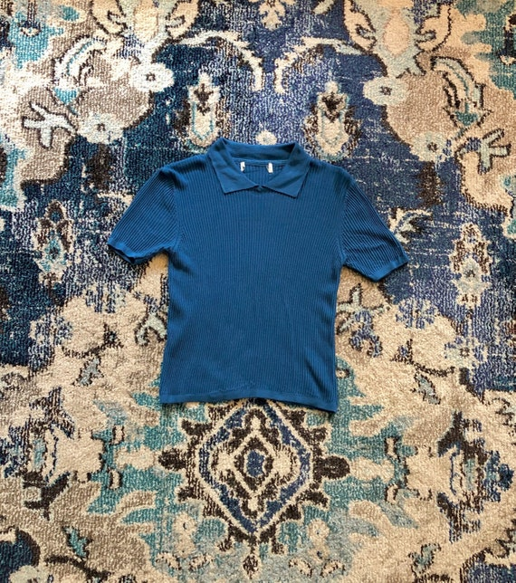 60s blue ribbed collared t-shirt
