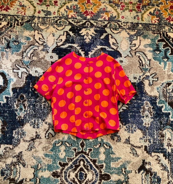 1980s pink & orange polka dot button-up blouse