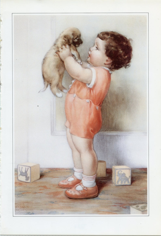 Benjamin With Puppy Art Print Painted by Bessie Pease Gutmann \u2013 Wall Art 06