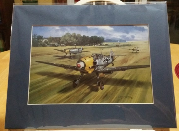 Messerschmitt 109 – ADOLF GALLAND Bookplate Art Print Painted by Michael Turner – Wall Art Mat 1