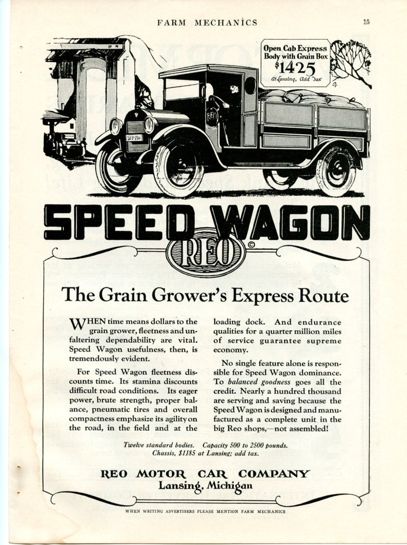 1924 Reo Speed Wagon Open Cab Express Body With Grain Box Print Ad 2A004