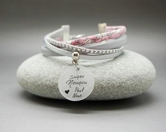 601814afdd02 bracelet manchette cuir rose liberty cabochon