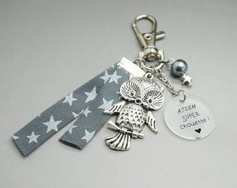 porte clé liberty étoile cabochon personnalisable ATSEM super chouette - cadeau scolaire - teacher gift