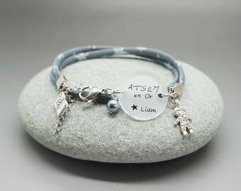 """bracelet liberty cabochon """"ATSEM en Or"""" prénom enfant étoile - cadeau personnalisable - teacher gift"""