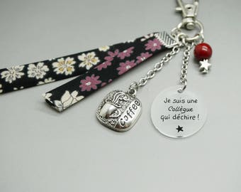 "Keychain liberty coffee cabochon ""Je suis a colleague who rocks"" - personalized - gift friend sister cousin girlfriend"
