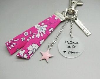 """porte clé liberty cabochon """"Maîtresse en or"""" crayon étoile rose- cadeau scolaire personnalisable"""