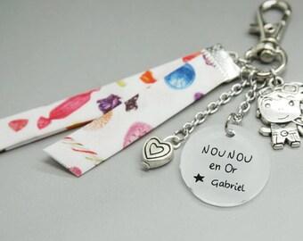 """porte clé liberty cabochon médaille """"Nounou en Or"""" + prénom enfant - cadeau personnalisable - nanny teacher mimi"""