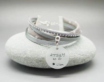 """bracelet manchette cuir cabochon """"ATSEM en or"""" prénom- cadeau scolaire personnalisable - teacher gift"""