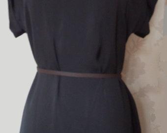 Nuit - black satin dress cowl neck dress size small uk 8-10