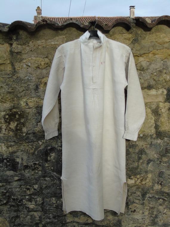 French antique linen hemp unisex night shirt/smock