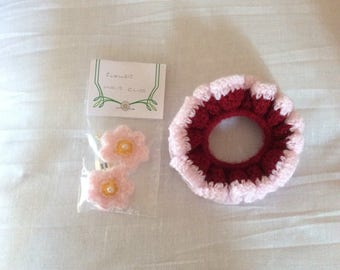 Crochet hair Scrunchie and clips