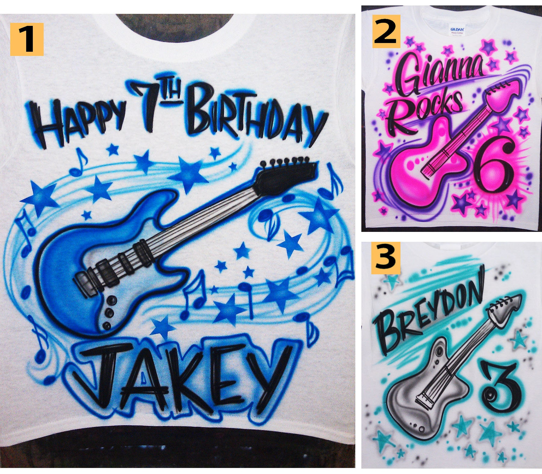 Airbrushed Happy Birthday Guitar Music Notes Custom T